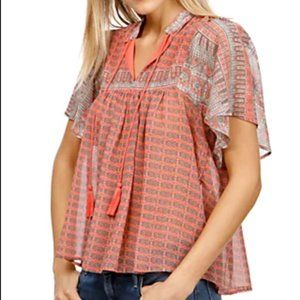 Lucky Brand Short Sleeve Peasant Top Blouse 2X